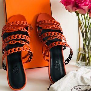 Hermès Nude Napa Leather Sandals Orange Brûlée 39
